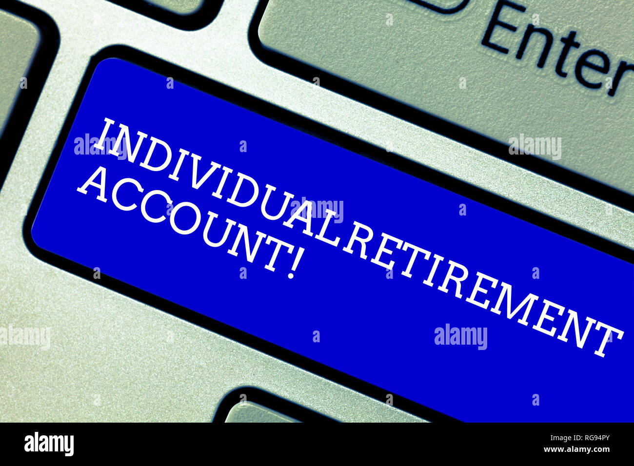 Word writing text Individual Retirement Account. Business concept for Invest and earmark funds for retirement Keyboard key Intention to create compute - Stock Image