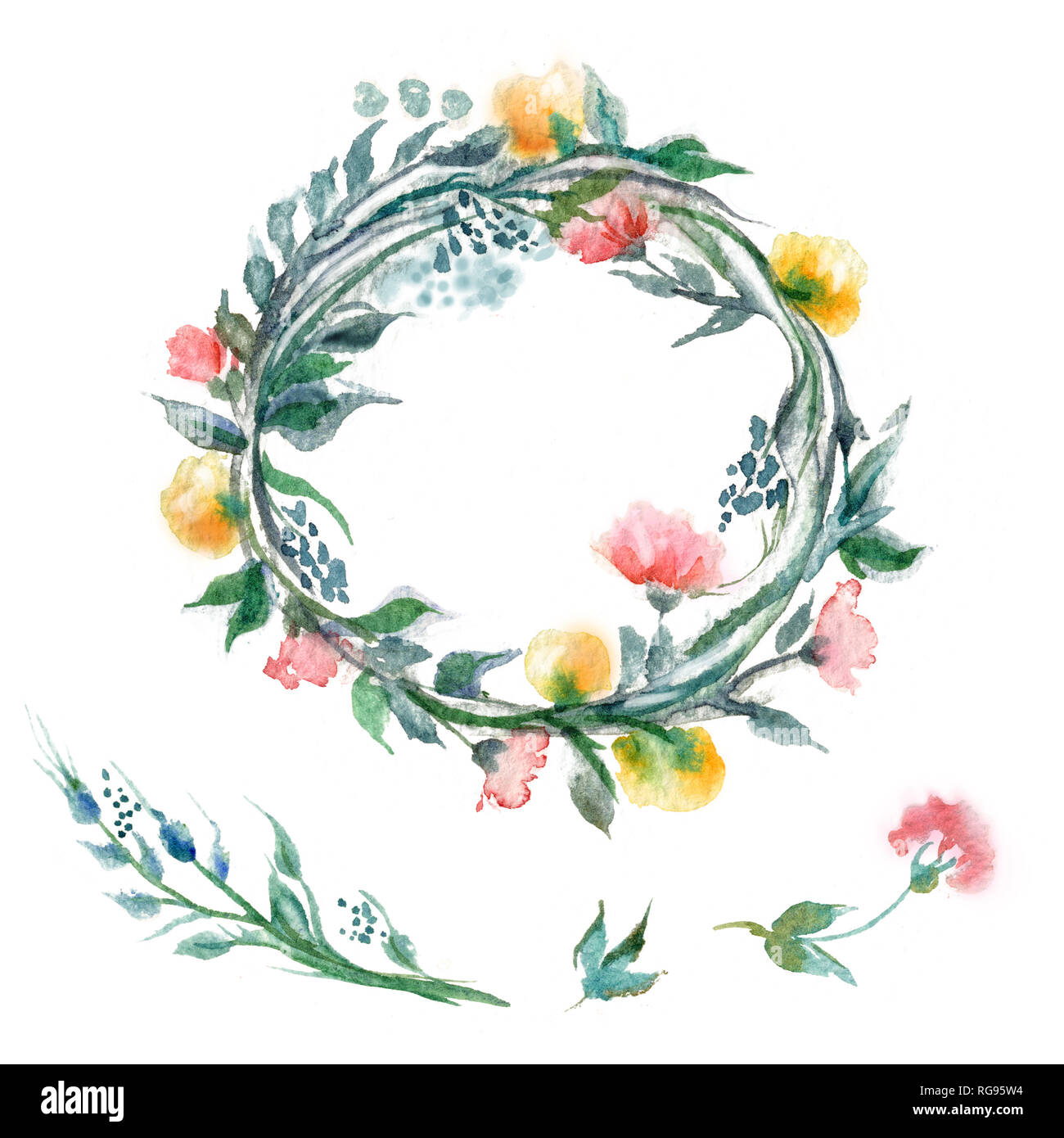 Watercolor ilustration of flower garland - Stock Image