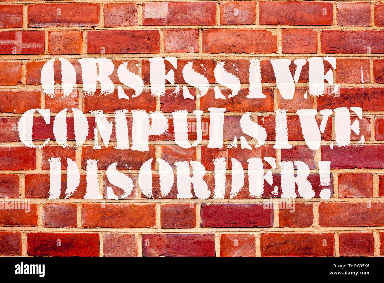 Word writing text Obsessive Compulsive Disorder. Business concept for Person has uncontrollable reoccurring thoughts - Stock Image