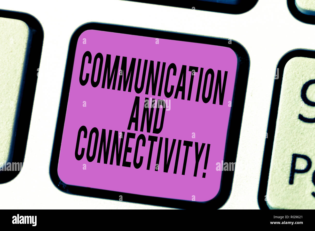 Text sign showing Communication And Connectivity. Conceptual photo social connections through network systems Keyboard key Intention to create compute Stock Photo