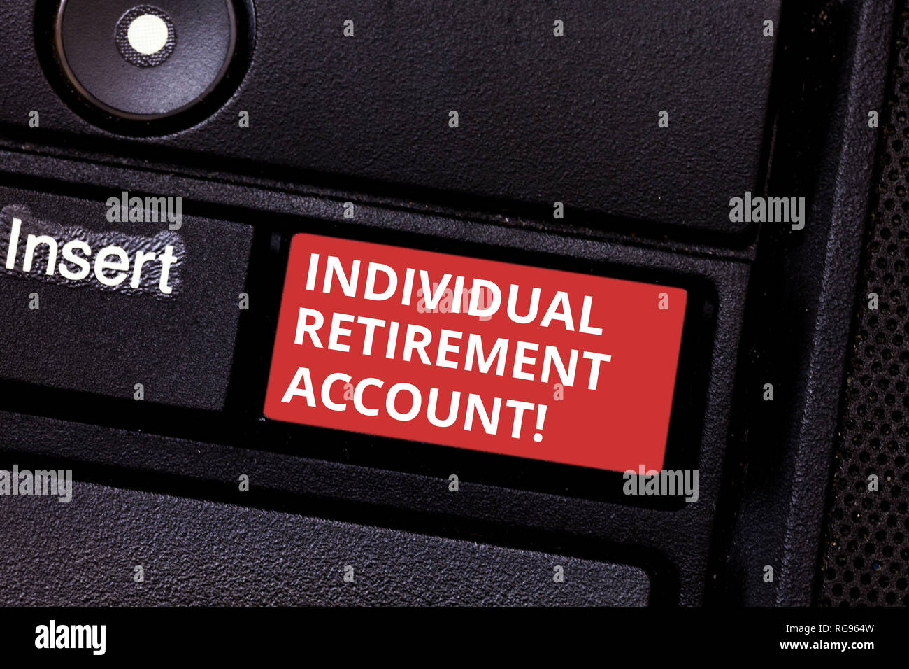 Text sign showing Individual Retirement Account. Conceptual photo Invest and earmark funds for retirement Keyboard key Intention to create computer me - Stock Image