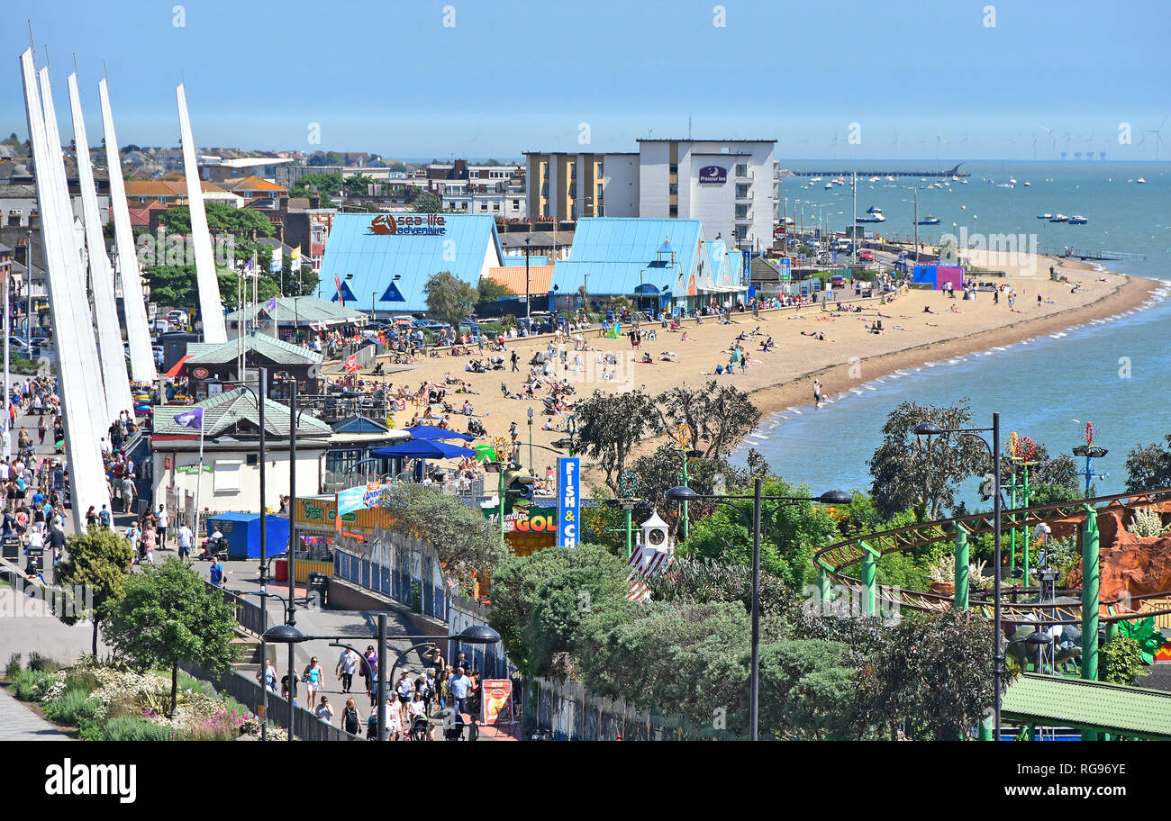 Southend on sea holiday seaside resort looking down view from above at waterfront beach & fairground promenade Thames Estuary Essex coast England UK - Stock Image