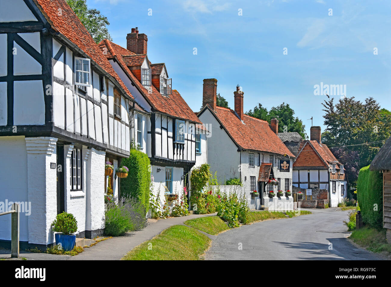 Street scene of grass verge and old black & white half timbered houses with pub beyond in English village of East Hagbourne Oxfordshire England UK - Stock Image
