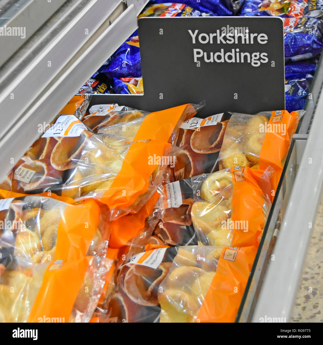 Close up of sign for Yorkshire Pudding for sale in plastic bag packaging in frozen food supermarket store self service cold display cabinet England UK - Stock Image