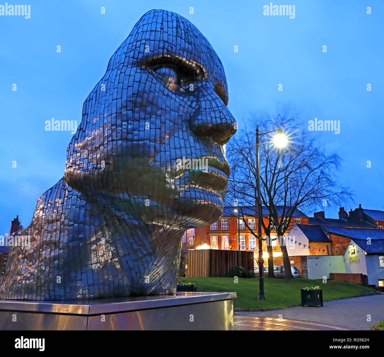 The Face Of Wigan at dusk, night image of the steel structure in town centre, - Stock Image