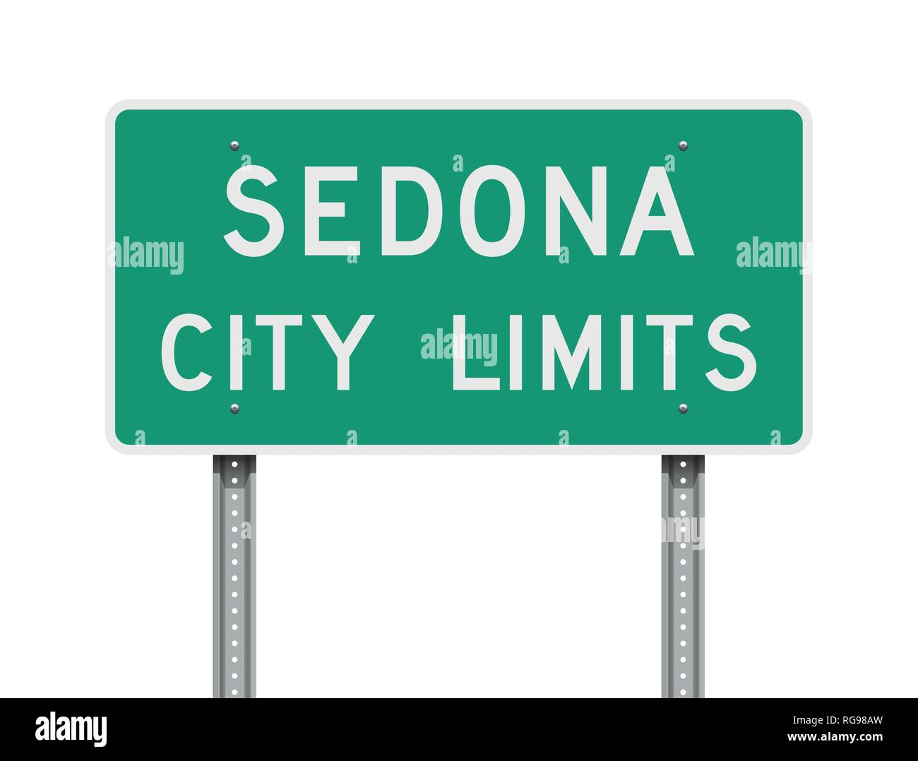 Vector illustration of the Sedona City Limits green road sign - Stock Image
