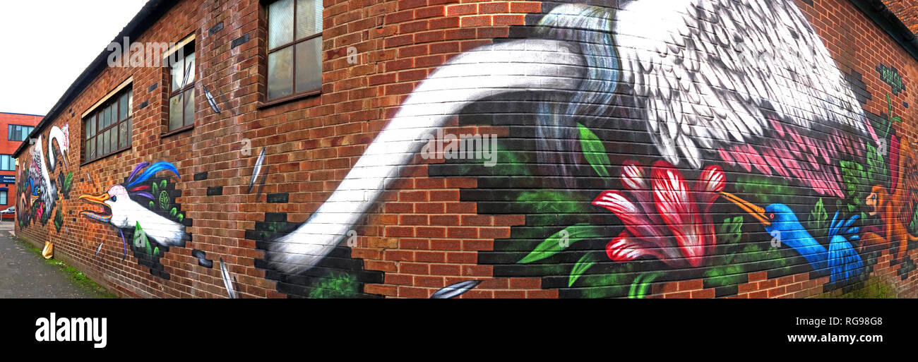 Emerica Factory Works, Bird Art, Cross Keys St, Northern Quarter, Manchester, City Centre, North West England, UK, M4 5ET - Stock Image