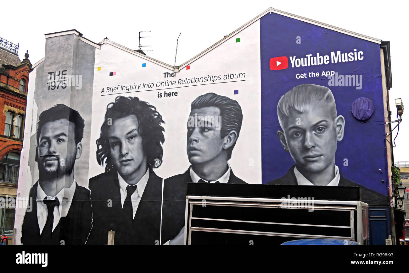 YouTube Music Get The App Advert, on gable end of building, Shude Hill, Manchester City Centre, North West England, UK, M4 2AF - Stock Image