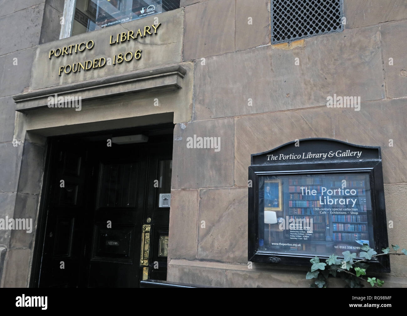 Portico Library and Art Gallery, Founded 1806, Mosley Street, Manchester, North West England, UK, - Stock Image