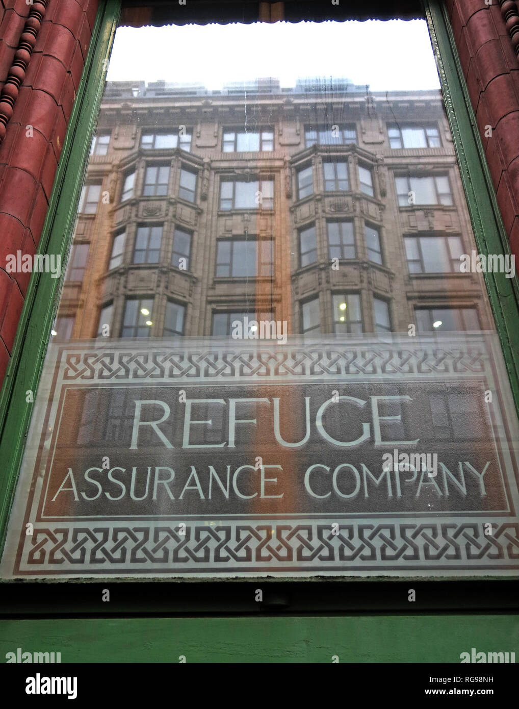 Window at Refuge assurance Company Head Office Building, Oxford Road, Manchester, North West England, UK, - Stock Image