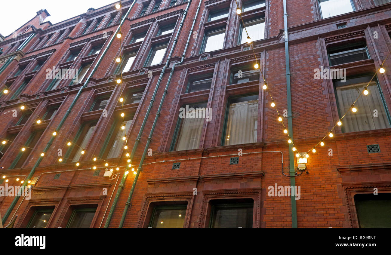 Courtyard with lights, Refuge assurance Company Head Office Building, Oxford Road, Manchester, North West England, UK, Stock Photo
