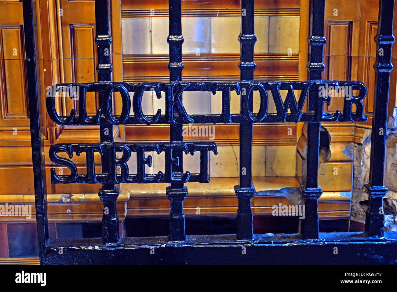 Clock Tower Entrance gate,Refuge assurance Company Head Office Building, Oxford Road, Manchester, North West England, UK, - Stock Image