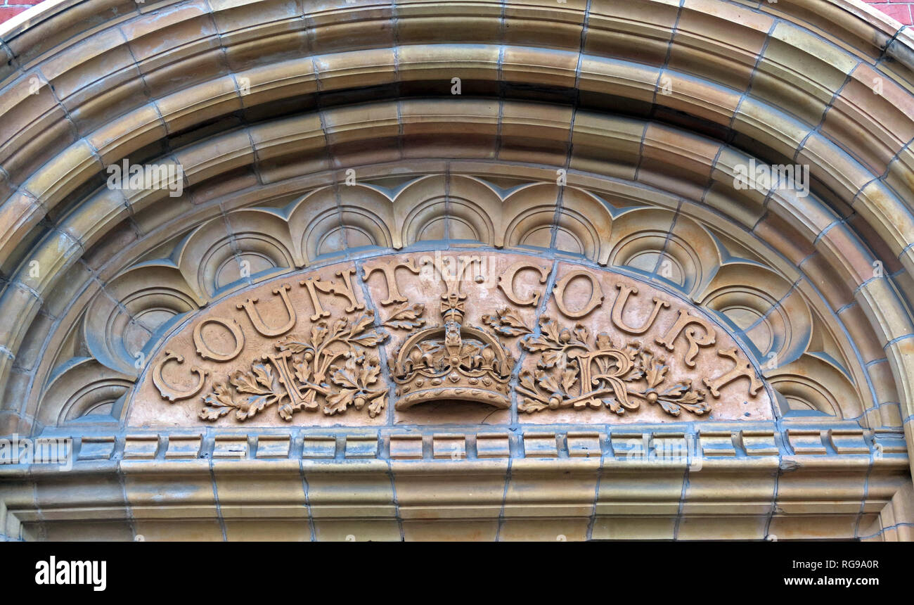 Cheshire County Court, stonework, Warrington, North West England, UK, - Stock Image