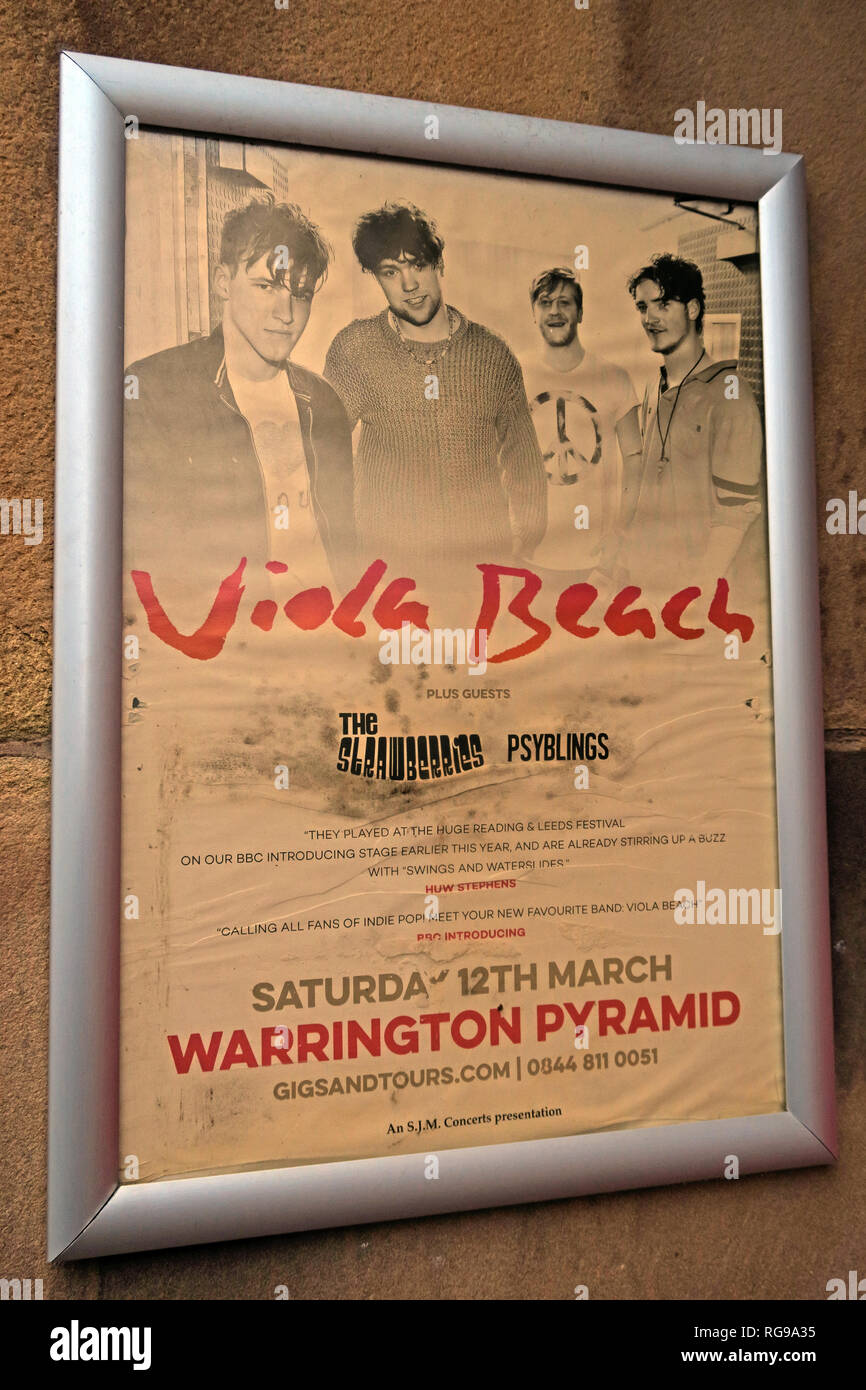 Vintage Viola Beach Poster, The Lounge, Bar, Springfield St, Warrington, Cheshire, North West England, UK, WA1 1BB - Stock Image