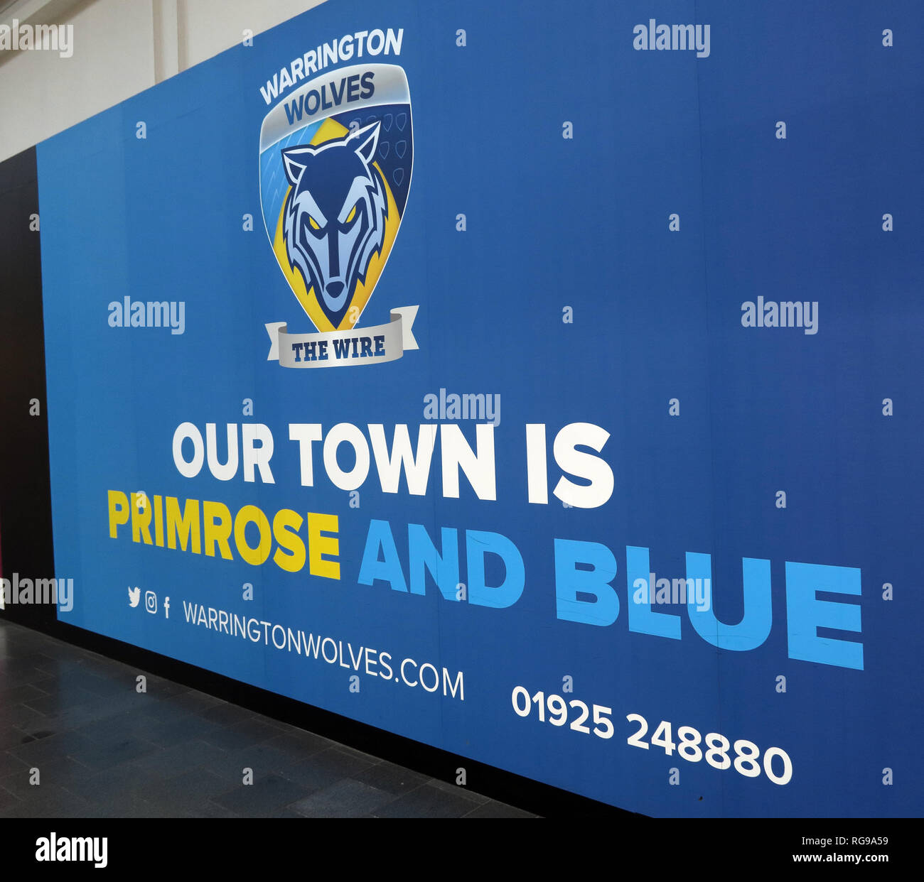 Warrington, Our Town Is Primrose and Blue, Golden Square Shopping Centre, Cheshire, North West England, UK - Stock Image