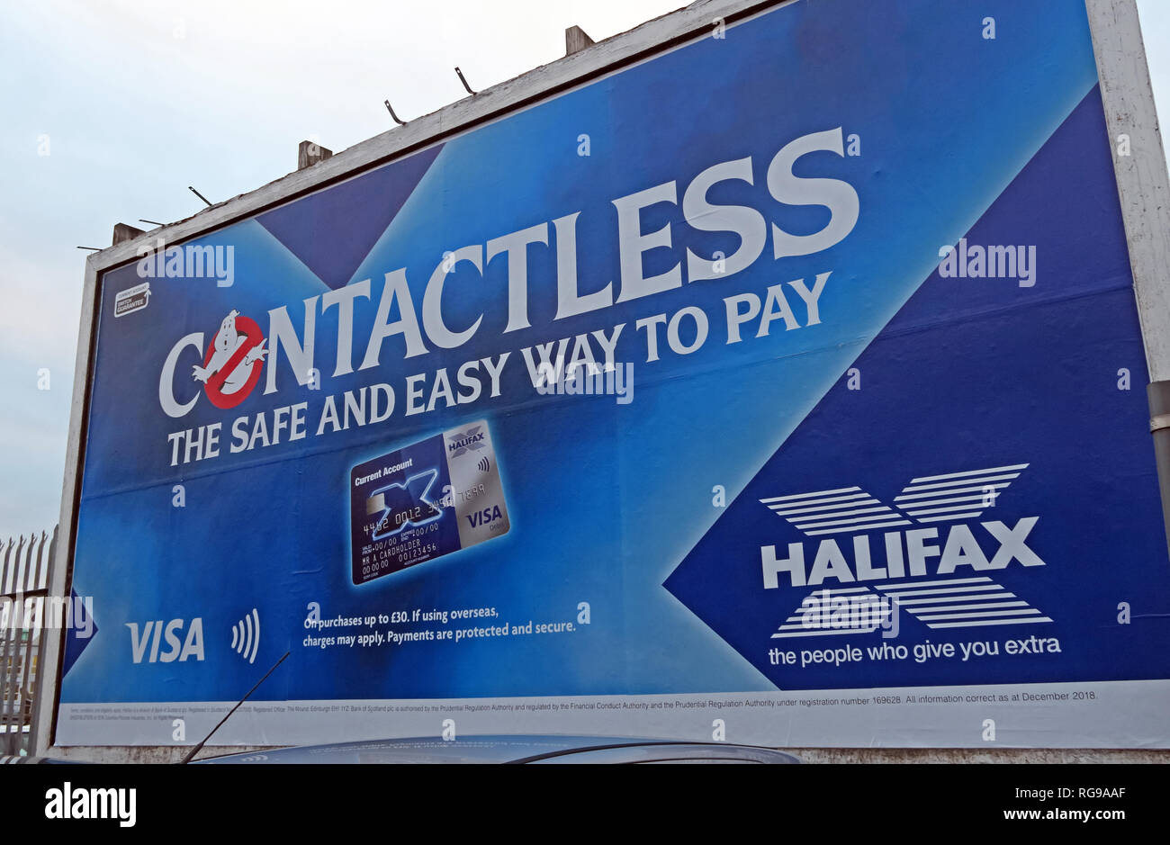 Halifax Contactless card billboard advert, The Safe and easy way To Pay, Warrington, Cheshire, UK - Stock Image