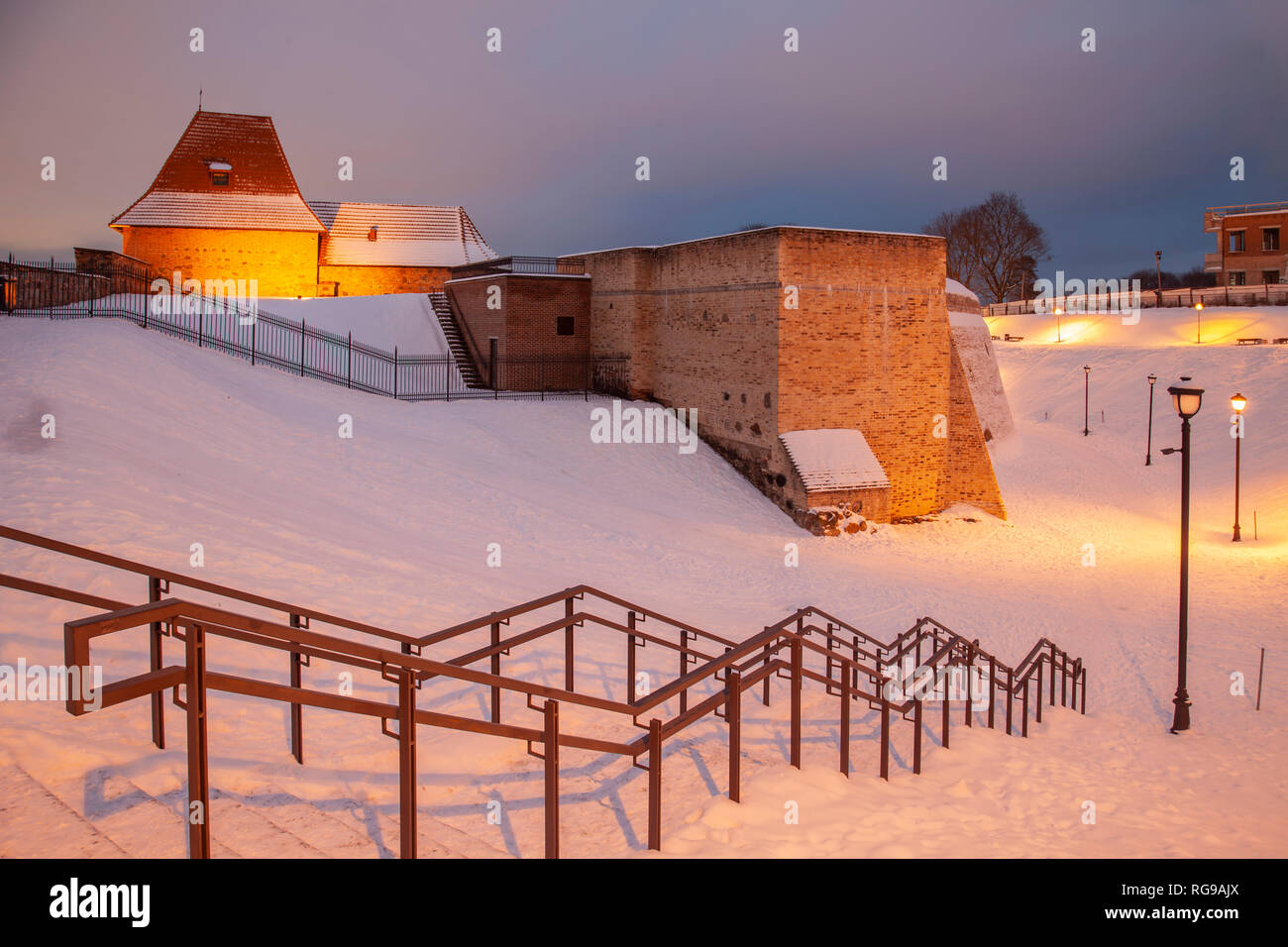 Evening at the Bastion of the city walls in Vilnius, Lithuania. - Stock Image