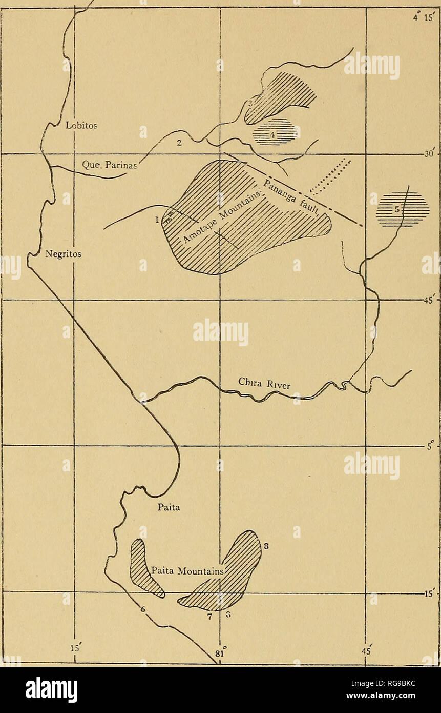 ". Bulletins of American paleontology. . Sketch map of a part of the Paita and Amotape region of eru, showing the approximate location of outcrops of Cretaceous northern Peru, showing the approximate location rocks. Loc. 1. Pan de Amcar near La Brea. 4° 'iQ'S. Lat., 81 o (J^ 30'' IV. Long. "" 2. Quebrada Monte Grande and vicinity. 4° 28' SO"",?. Lat. 81° 4,'W. Long. 8. Qibeljrada Muerto, Upper Farinas 4. Region of Quehruda Pasuil, north of the Pananga fault 5. Eegion of Copa Sombrero in upper Quebrada Leonora and Saman. 6. Playa Tortugas (Gerth) 7. ActaeoneUen-Hippurtenkalkntein of Gert - Stock Image"