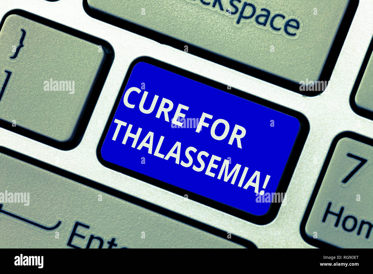 Text sign showing Cure For Thalassemia. Conceptual photo Treatment needed for this inherited blood disorder Keyboard key Intention to create computer  - Stock Image