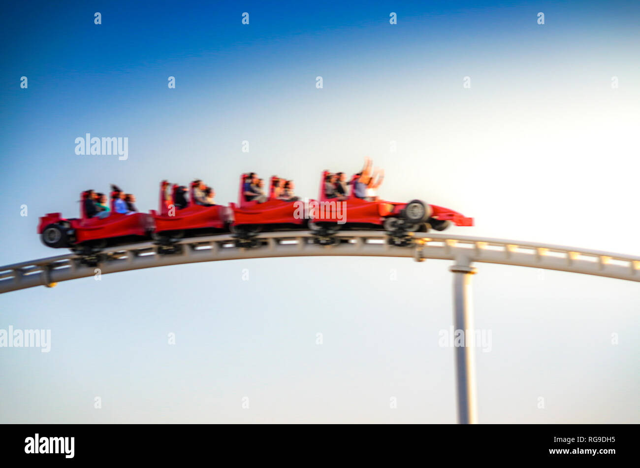 Scenic view of Formula Rossa coaster in Ferrari world amusement park in Yas Island, Abu Dhabi. Close up view with motion blur filter - Stock Image