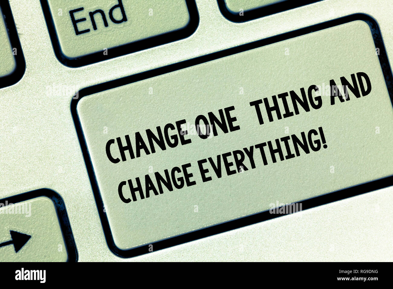 Conceptual hand writing showing Change One Thing And Change