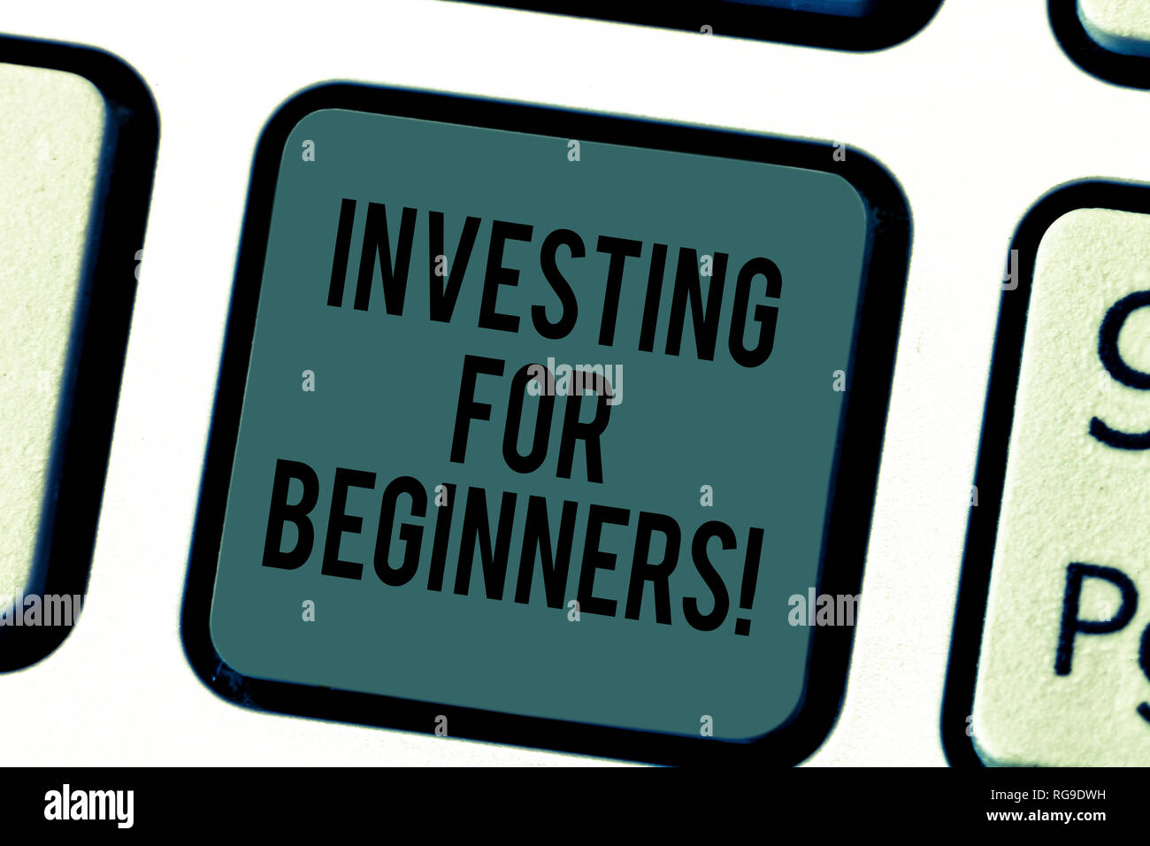 Handwriting text writing Investing For Beginners. Concept meaning outlay of money usually for income or profit Keyboard key Intention to create comput Stock Photo
