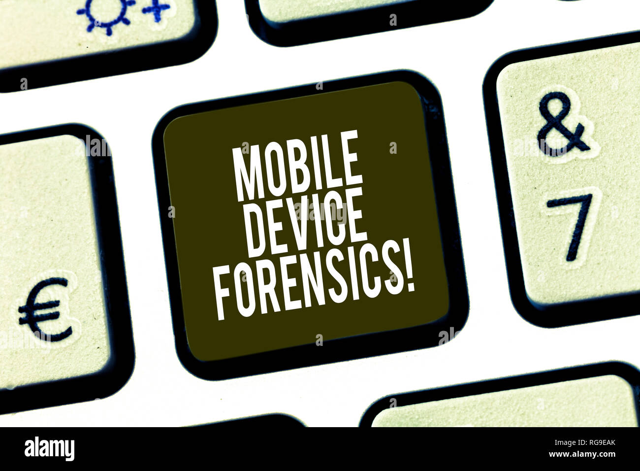 Conceptual hand writing showing Mobile Device Forensics. Business photo showcasing Electronic data gathering for legal evidence use Keyboard key Inten - Stock Image