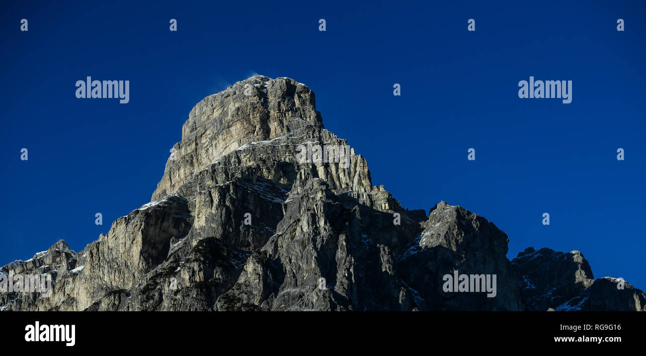 Sassongher peak seen from Corvara in Badia in the Dolomites, South Tyrol, Italy. Beautiful winter sunny day Stock Photo