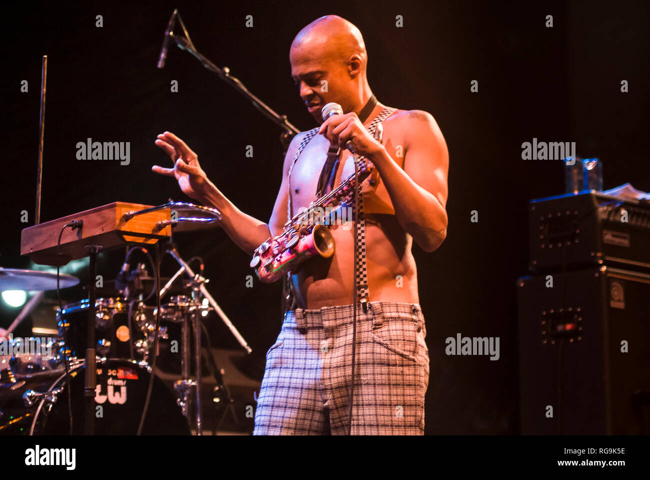 Angelo Moore singer of the alternative rock band Fishbone performing live at Kesselhaus, Berlin - Germany. Stock Photo