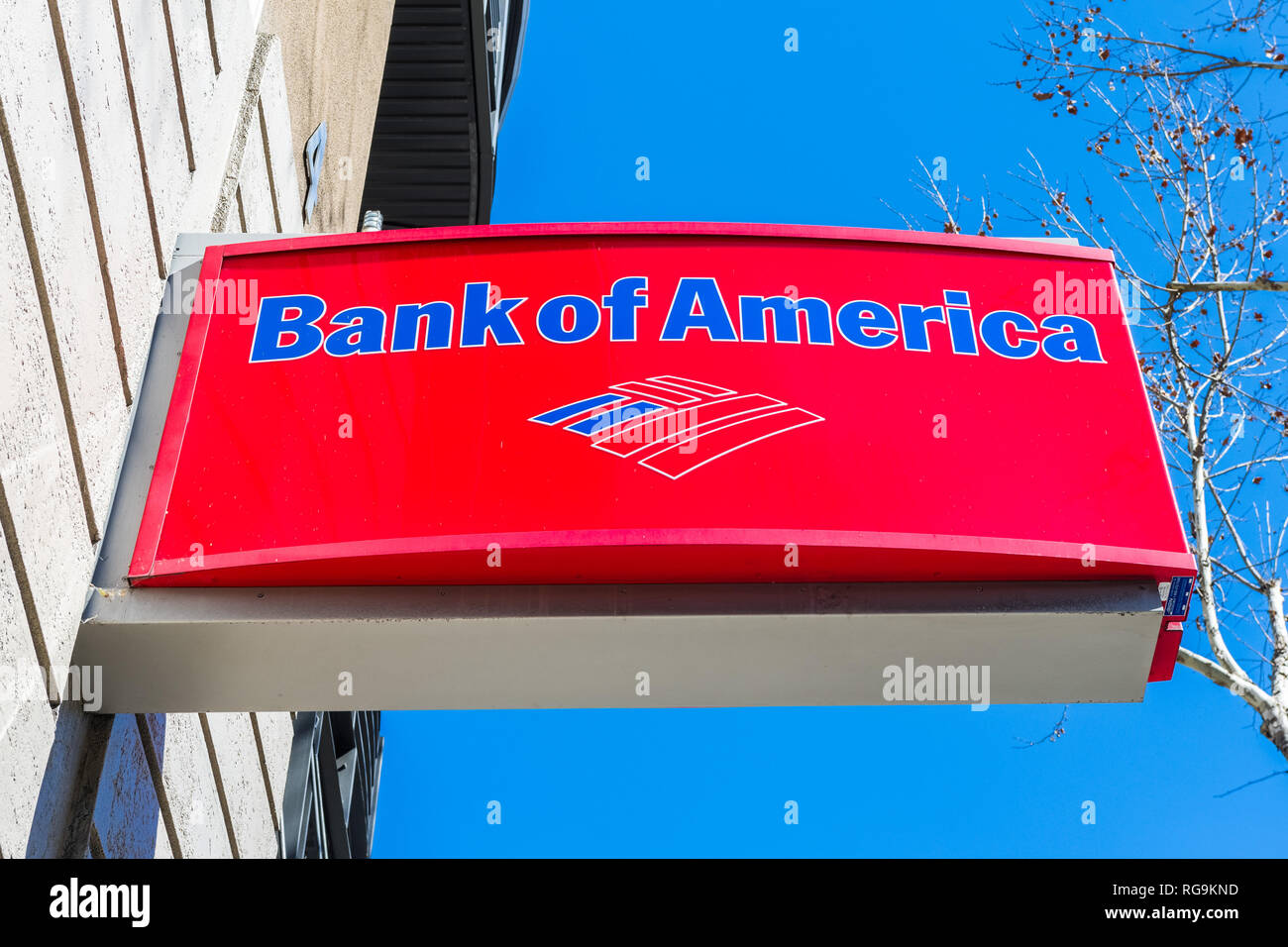 February 21, 2018 San Jose / CA / USA - Bank of America logo above the entrance to one of the bank's branches, San Francisco bay area - Stock Image