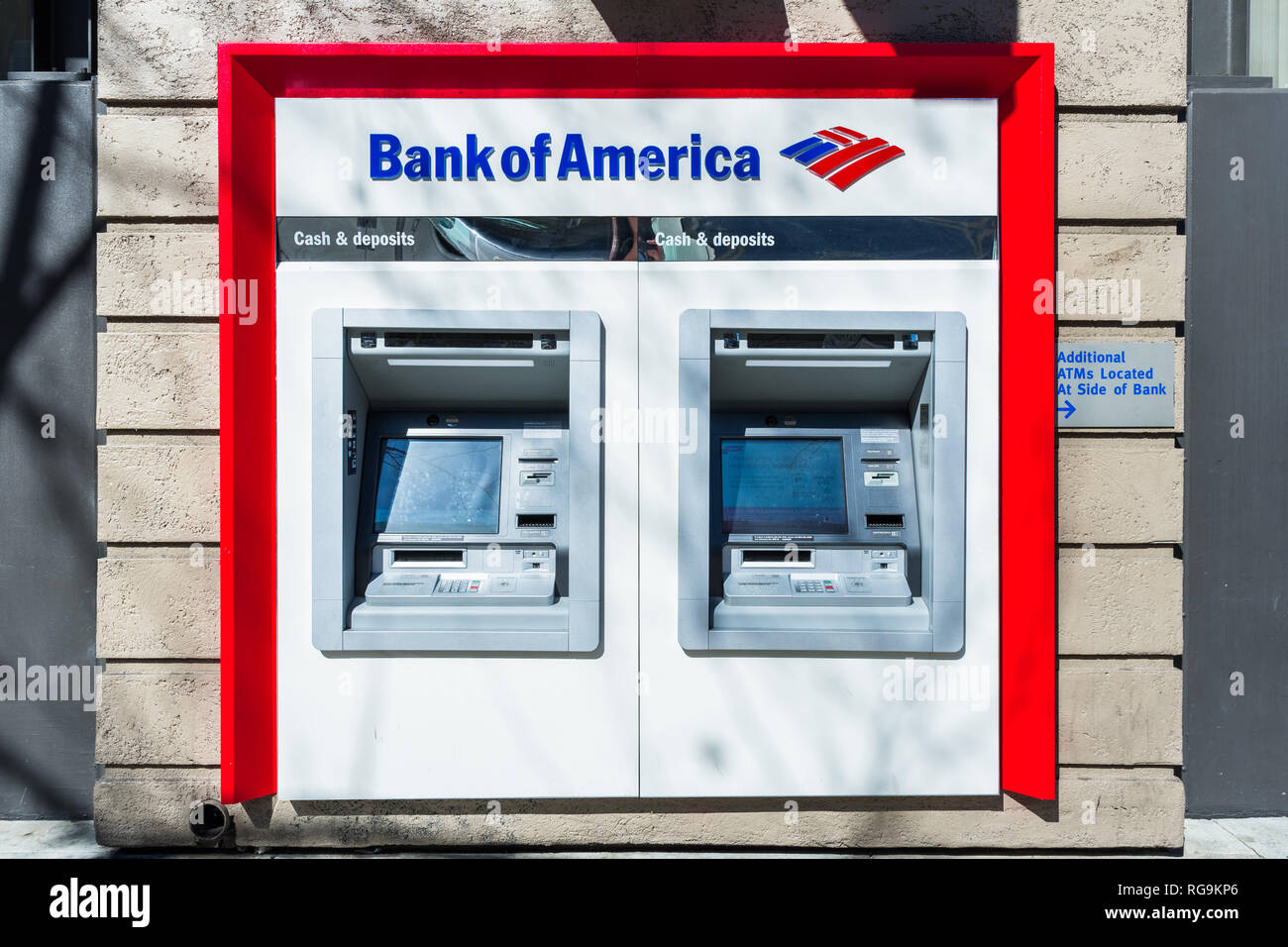 February 21, 2018 San Jose / CA / USA - Bank of America ATM's located at one of the bank's branches, San Francisco bay area - Stock Image