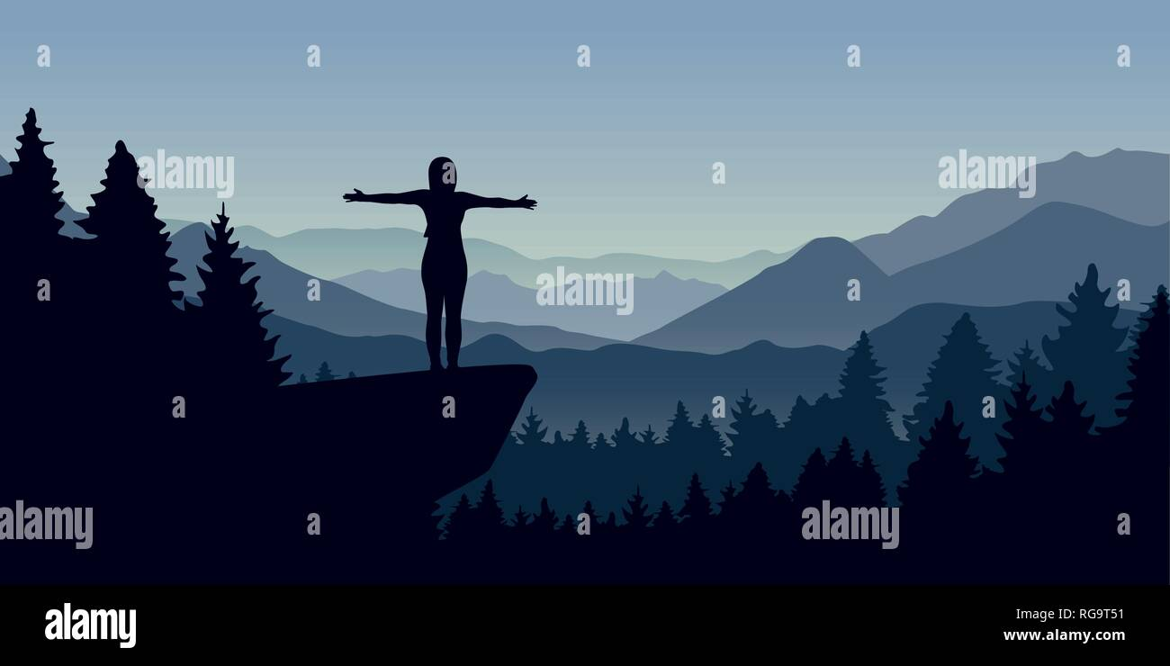 happy woman stands on a cliff in the forest with mountain view nature landscape vector illustration EPS10 - Stock Vector