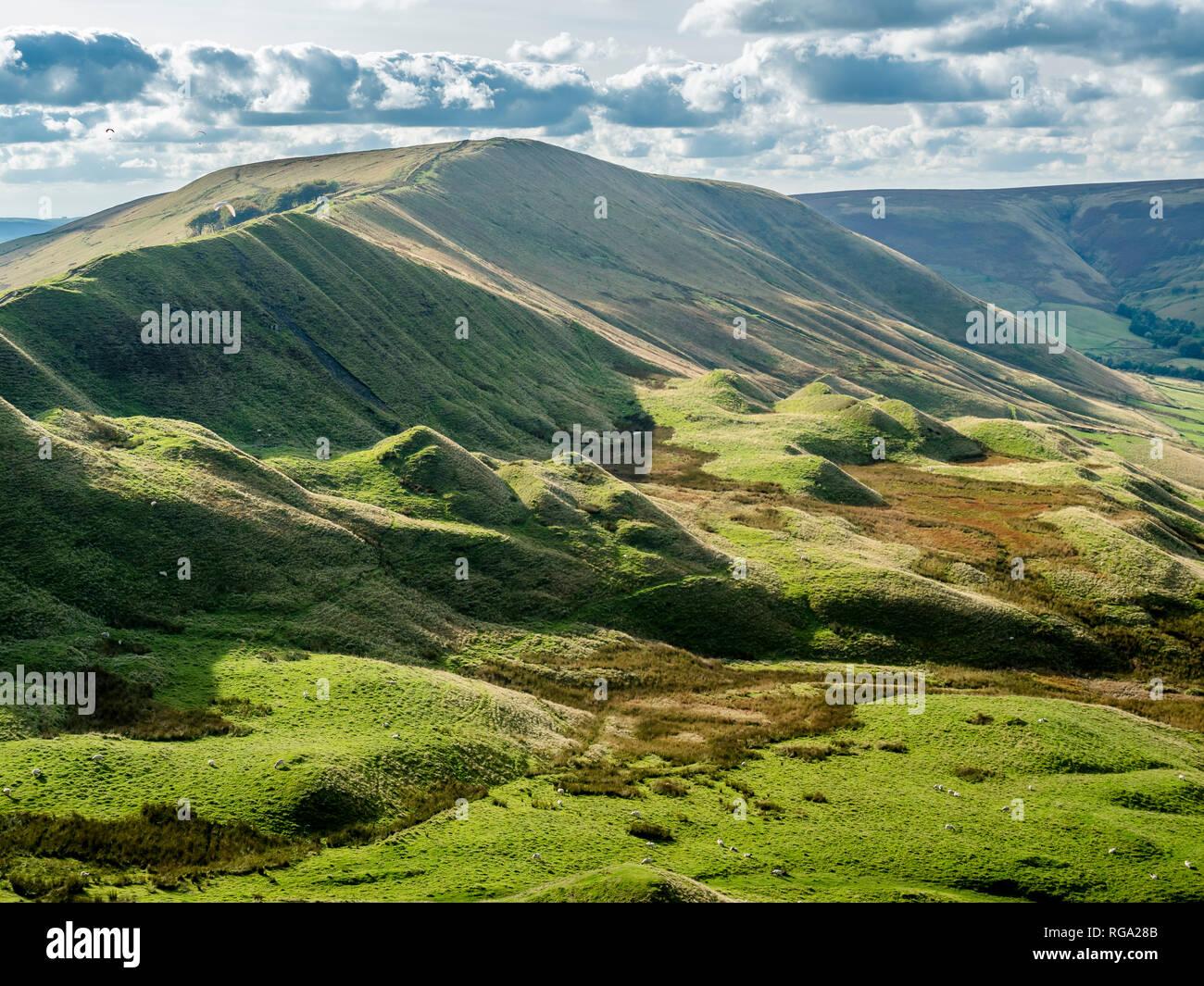 Great Britain, England, Derbyshire, Peak District, Castleton, Mam Tor Stock Photo