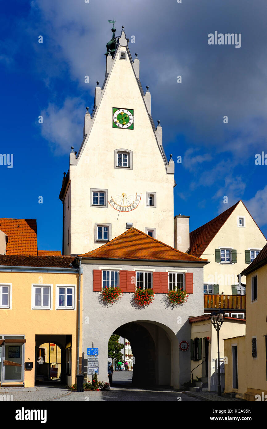Germany, Bavaria, Swabia, Donau-Ries, Monheim, Upper Gate Stock Photo