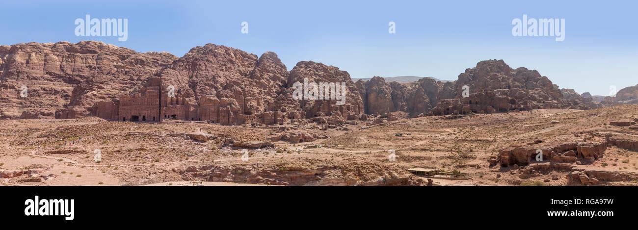 Königsgräber, Panorama, Petra, Nabatäer Hauptstadt, UNESCO Welkulturerbe, Wadi Musa, Jordanien, Asien Stock Photo