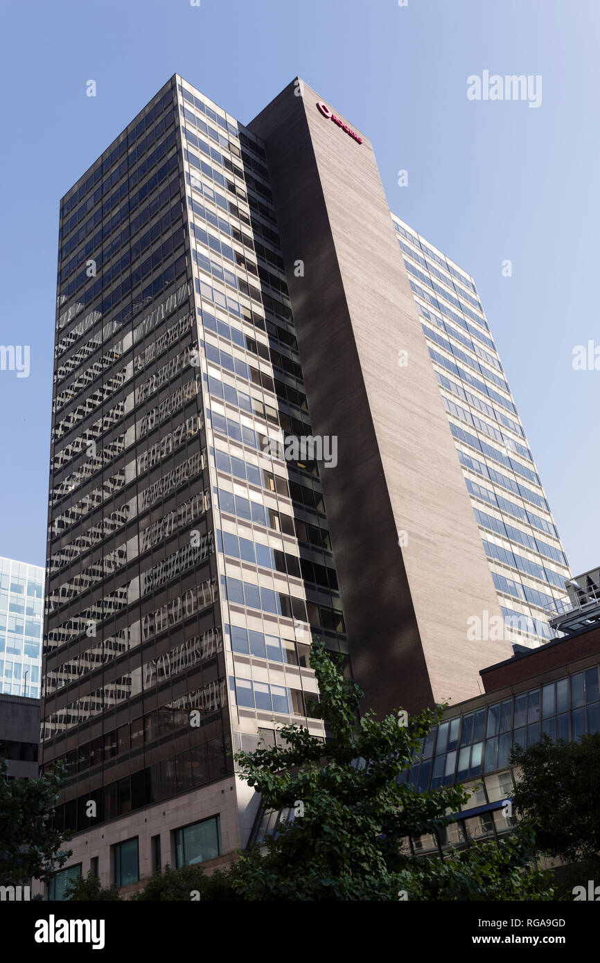 Montreal, Quebec, June 30, 2018: Tour Rogers skyscraper was built in 1976 and has 85 m tall and 24 storey - Stock Image