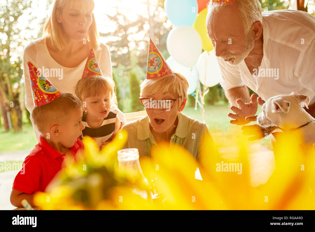Happy extended family on a garden birthday party - Stock Image