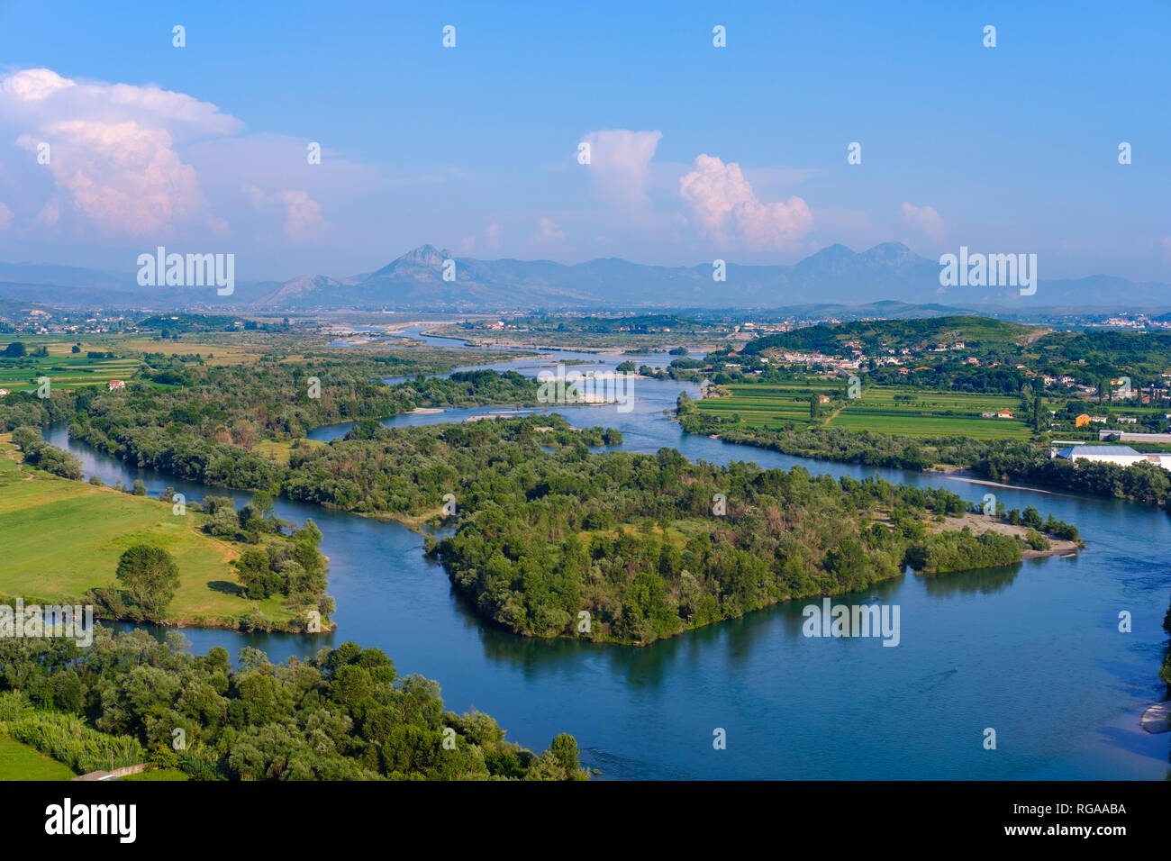 Albania, Shkoder, Drin and Kir rivers, View from Rozafa Castle - Stock Image