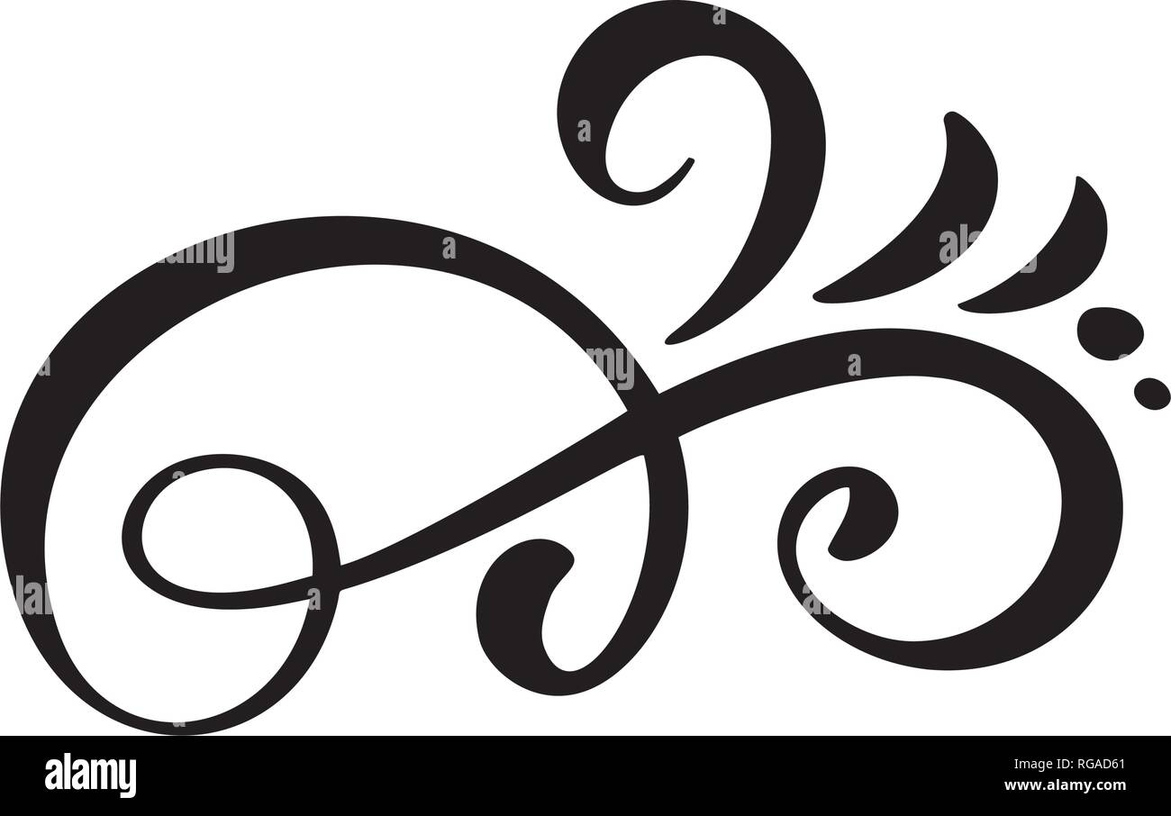 Vector vintage line elegant dividers and separators, swirls and corners decorative ornaments. Floral lines filigree design elements. Flourish curl - Stock Image