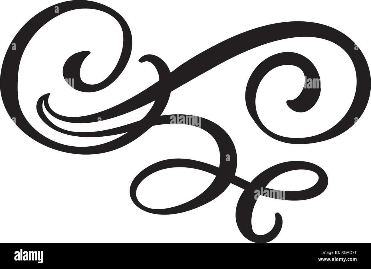 Floral lines filigree design elements. Vector vintage line elegant dividers and separators, swirls and corners decorative ornaments. Flourish curl - Stock Image