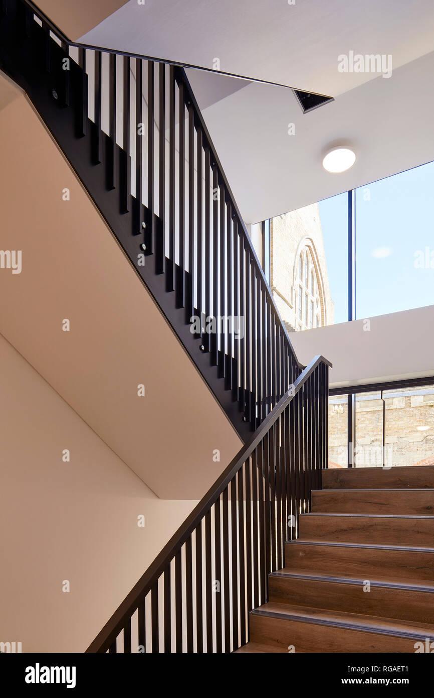 Interior stairwell. Paul Street, London, United Kingdom. Architect: Stiff + Trevillion Architects, 2018. - Stock Image