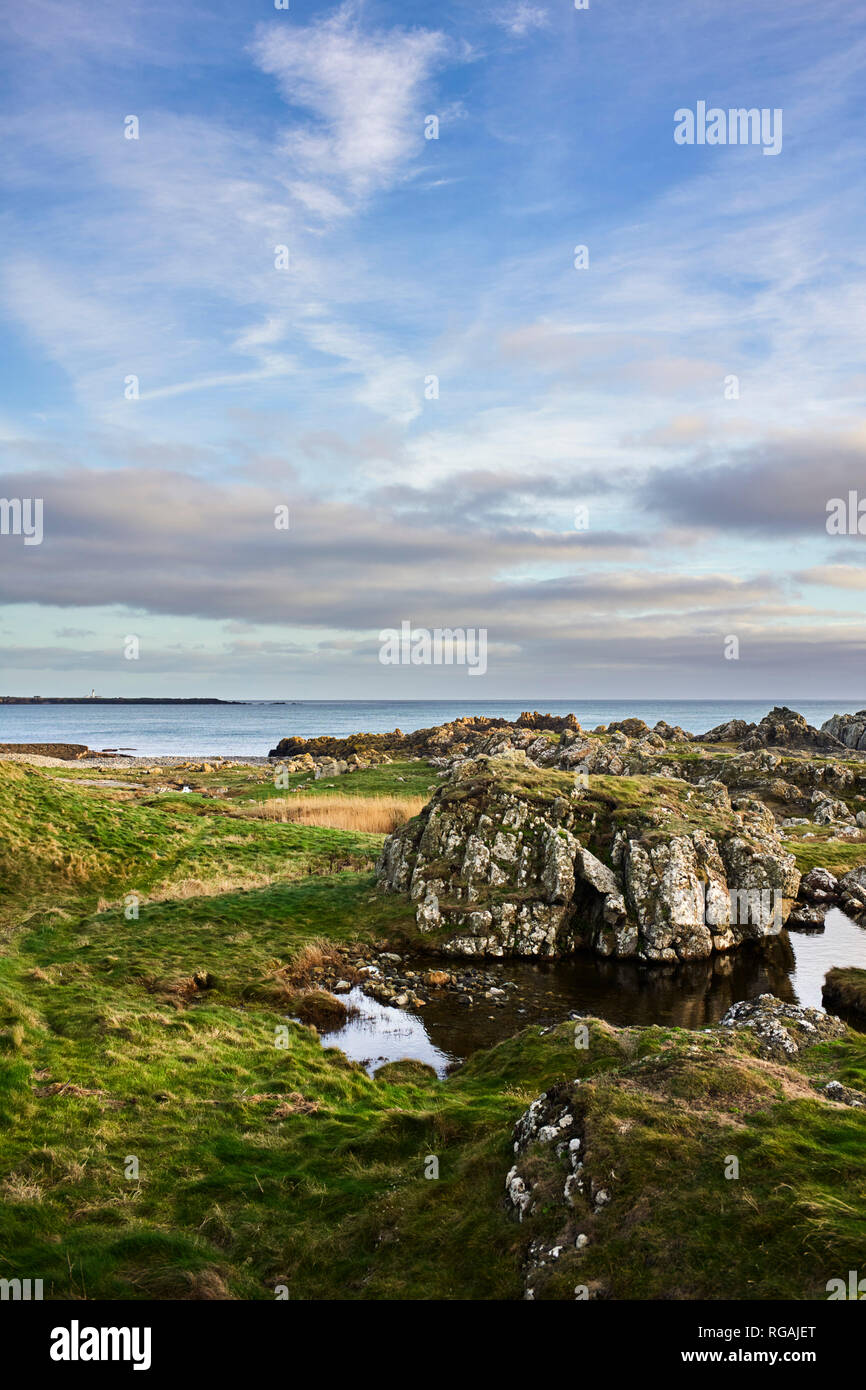 Rocks and grass looking out to sea at Scarlett, Isle of Man - Stock Image