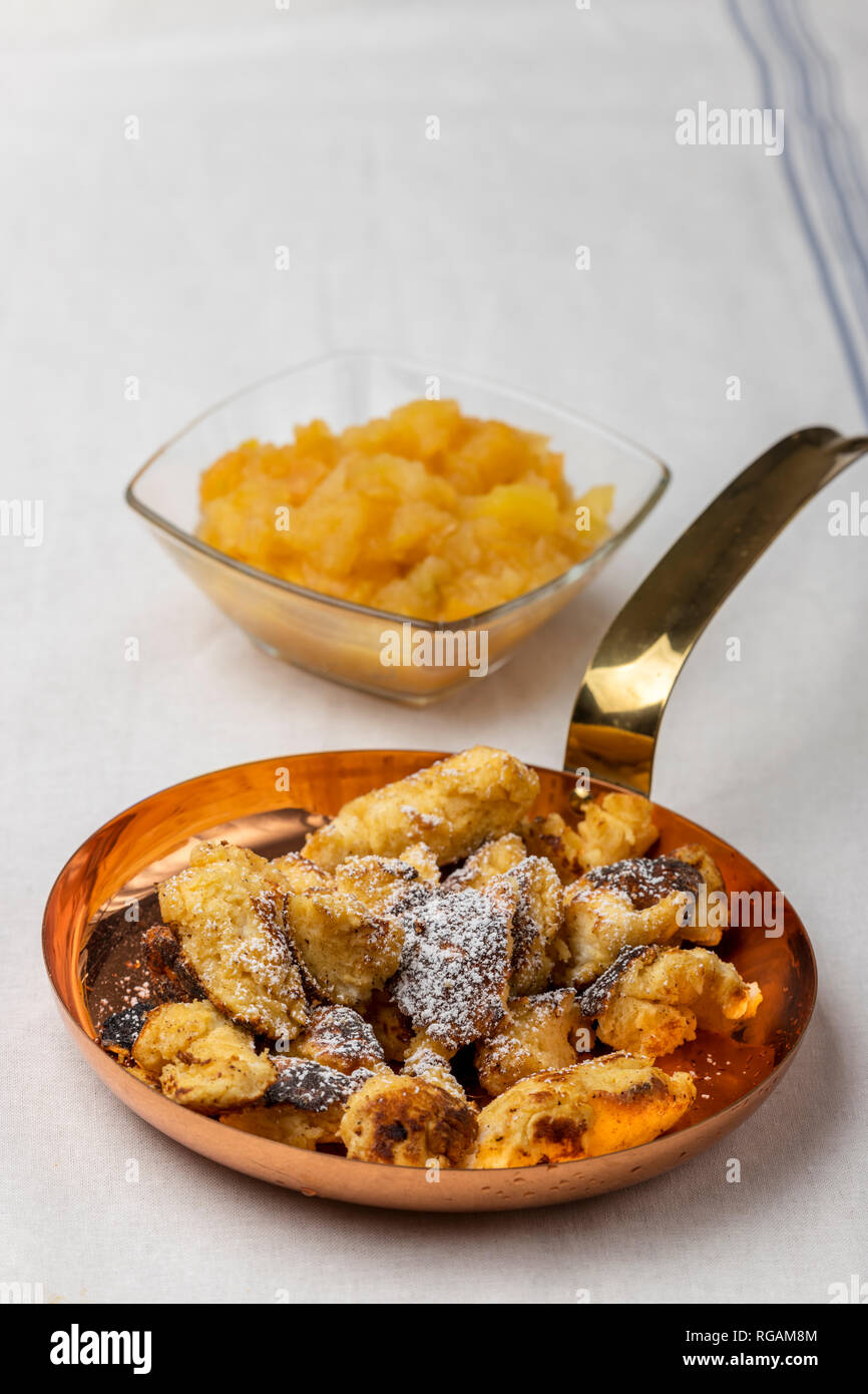 austrian kaiserschmarrn on dark wood Stock Photo