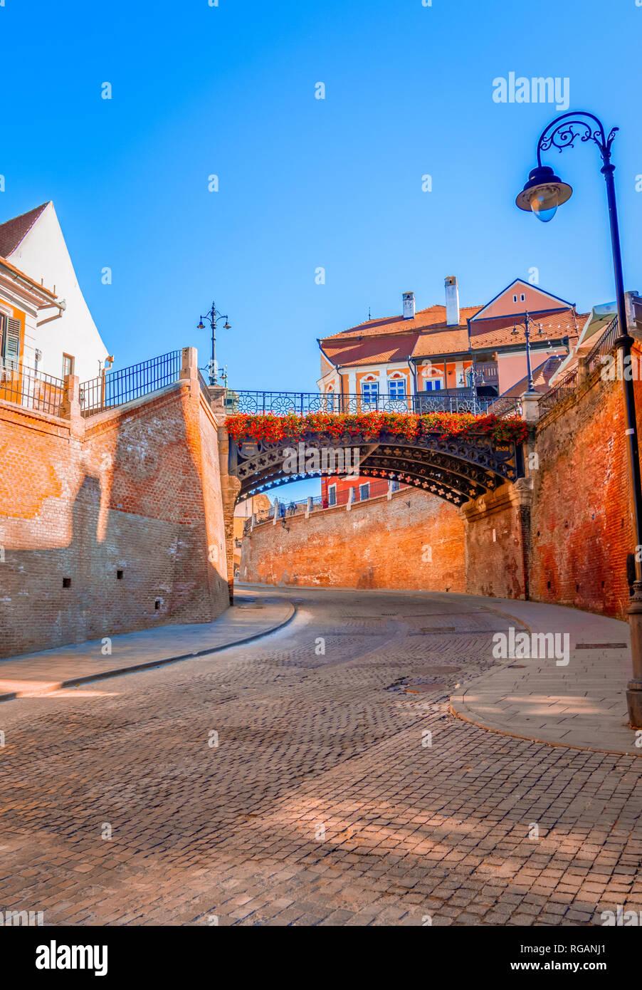 Sibiu, Romania: Liars Bridge in the Small Square Stock Photo