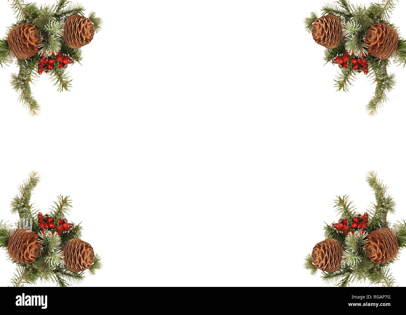 Card Christmas decoration with pine cone Stock Photo