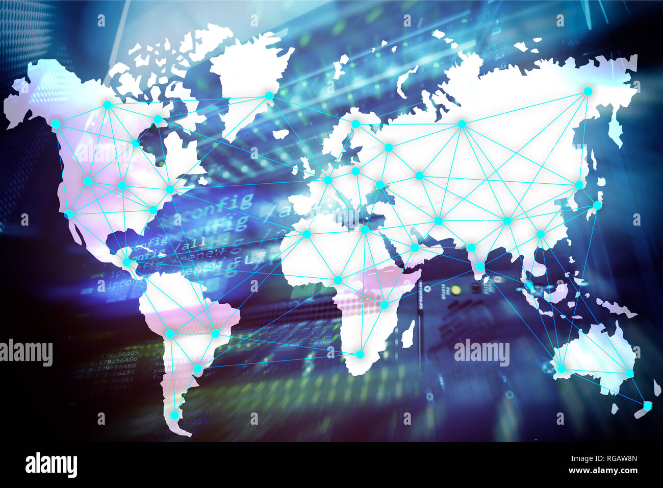 Internet and telecommunication concept with world map on