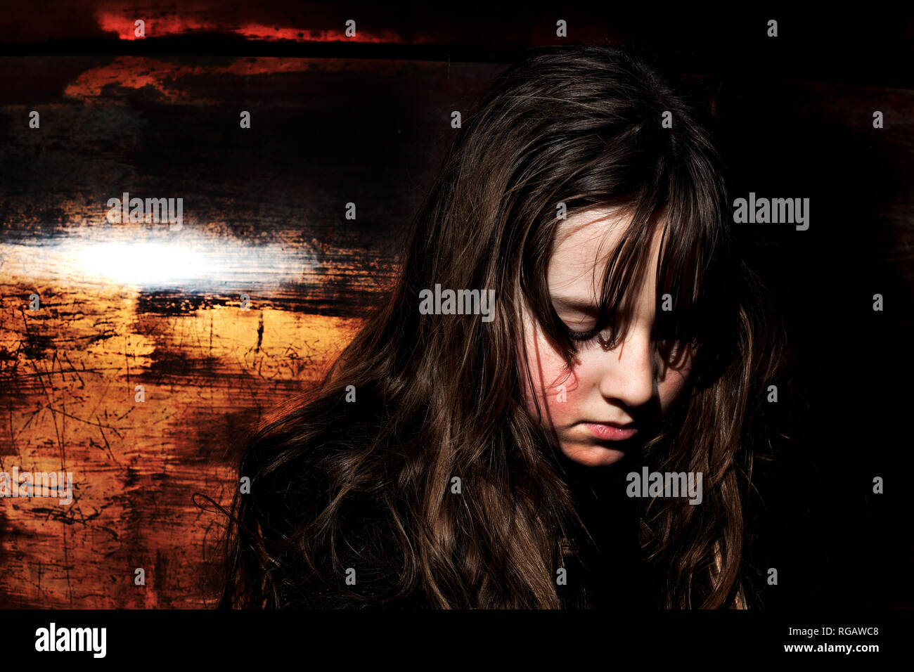 Boy with long hair. - Stock Image