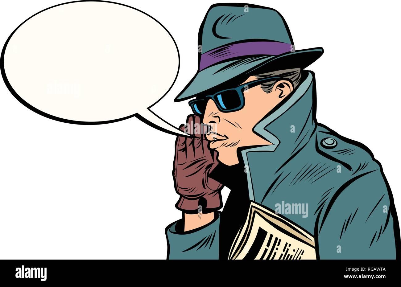 spy secret agent whisper - Stock Vector