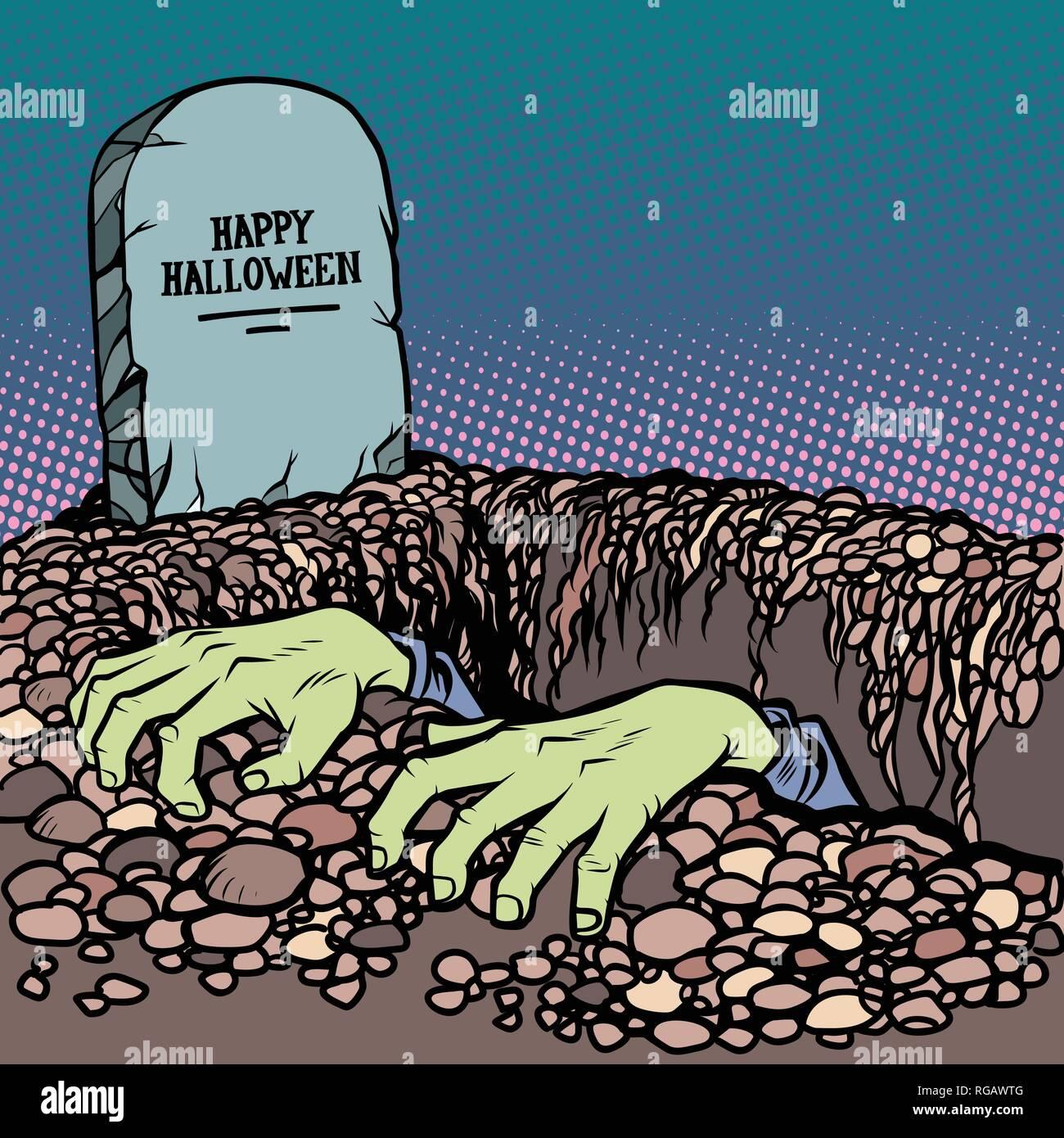 zombie hands happy Halloween grave - Stock Vector