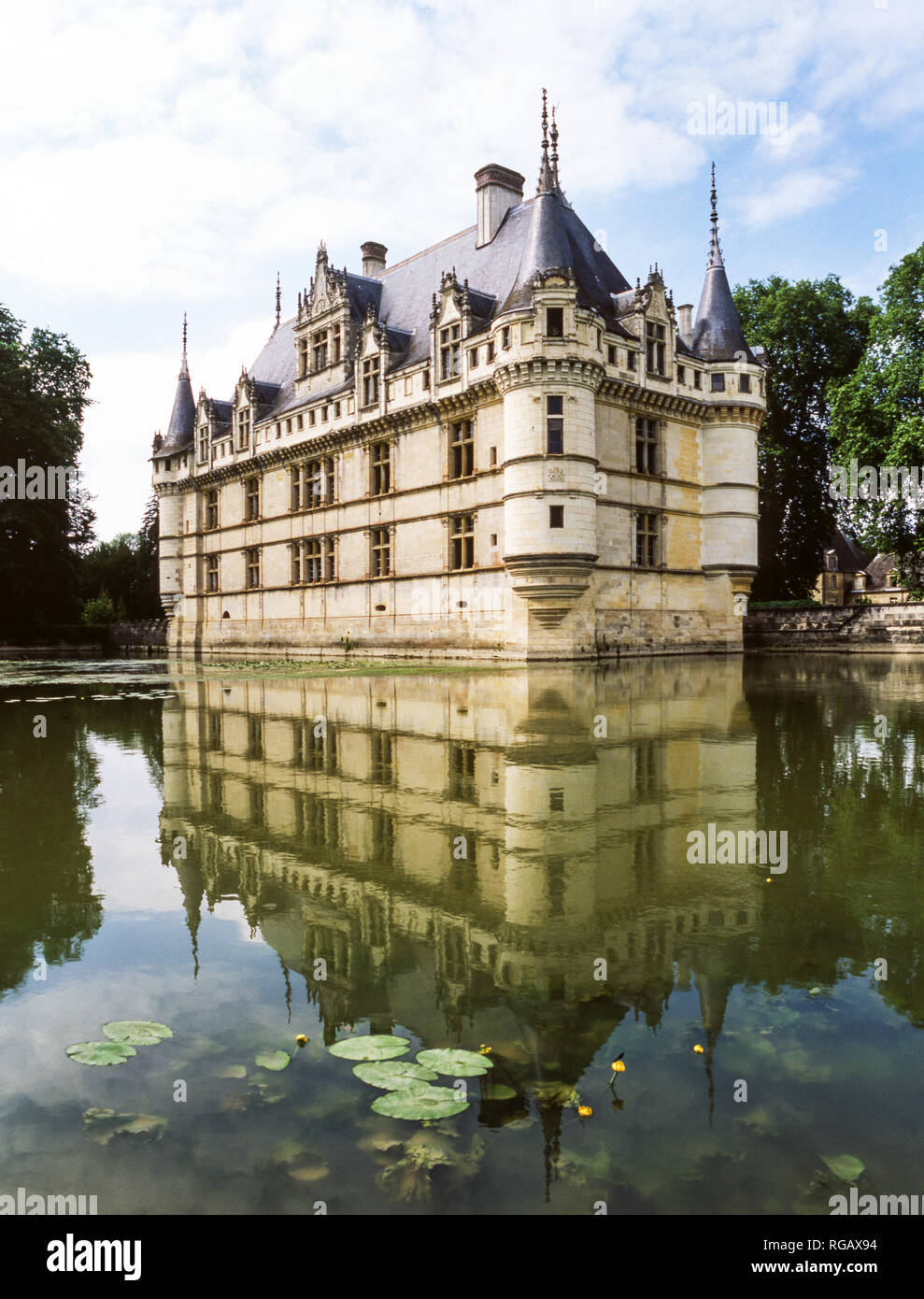 France.Loire Valley.The Chateau of Azay-le-Rideau (1528) - Stock Image